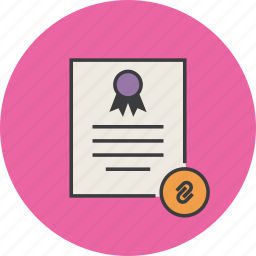 attachment, certificate, certification, document, mail, rules, standard icon