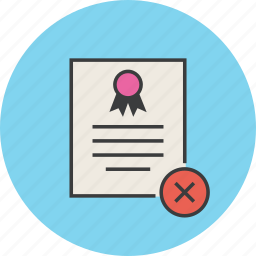 certificate, certification, delete, document, remove, rules, standard icon