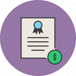 banking, business, certificate, dollar, financial, statement, trade icon