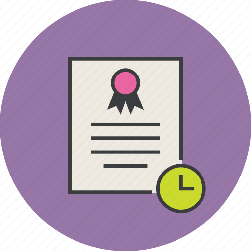 certificate, date, document, expiry, rules, time, warranty icon