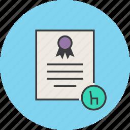 certificate, document, features, furniture, guarantee, manual, warranty icon