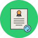 certificate, certification, document, refresh, rules, standard, update icon