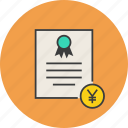 banking, business, certificate, financial, statement, trade, yen