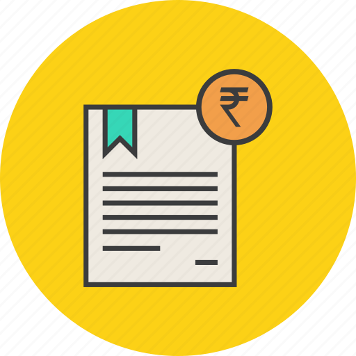 banking, business, certificate, financial, rupee, statement, trade icon