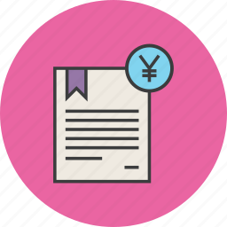 banking, business, certificate, financial, statement, trade, yen icon
