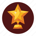 achievement, award, badge, champions, seal, star, trophy icon