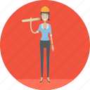 adult, architect, female, manufacturing, people, plan, profession icon
