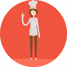 adult, chef, chef hat, cook, female, people, profession icon