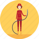 adult, female, fire, firefighter, hose, people, profession icon