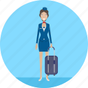 adult, attendant, female, flight, people, profession, travel icon
