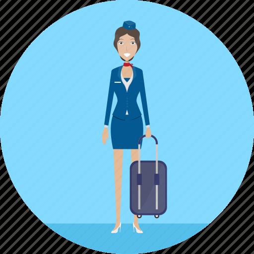 adult, attendant, female, flight, people, profession, travel icon