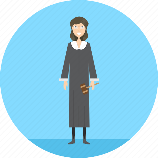 adult, female, judge, justice, law, people, profession icon