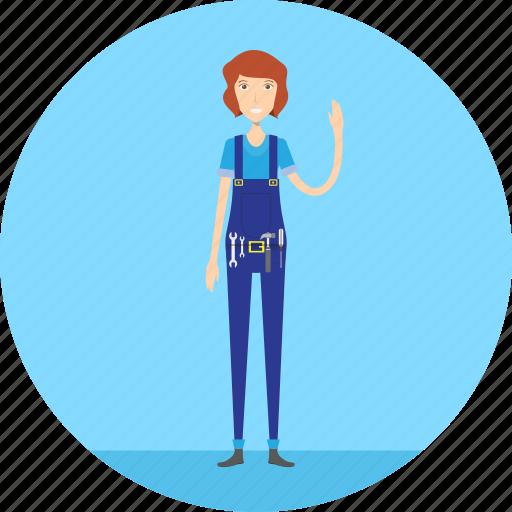 adult, female, mechanic, people, profession, repair, service icon