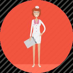 adult, female, healthy, medical, nurse, people, profession icon