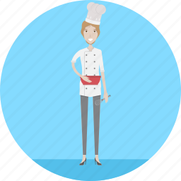 adult, baker, bread, female, loaf, people, profession icon