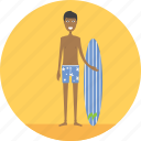 adult, beach, beachman, male, people, profession, surf icon