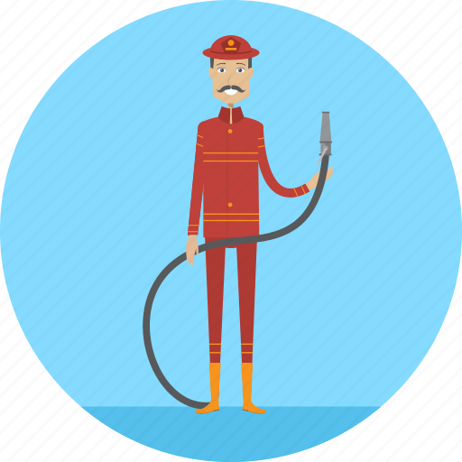 adult, fire, firefighter, hose, male, people, profession icon