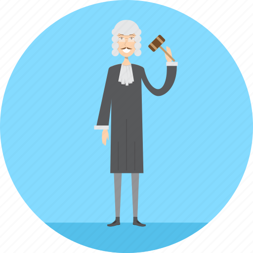 adult, judge, justice, law, male, people, profession icon