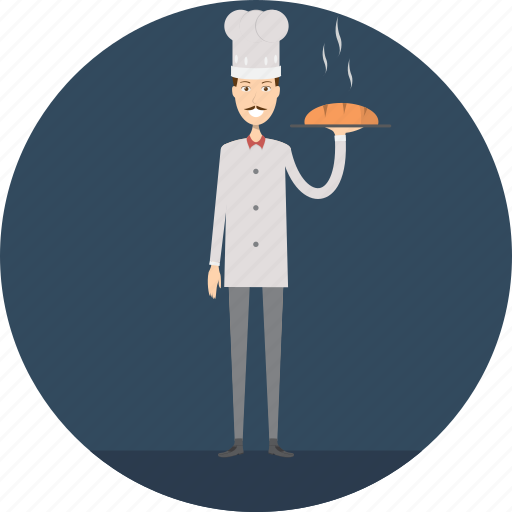 adult, baker, bread, loaf, male, people, profession icon