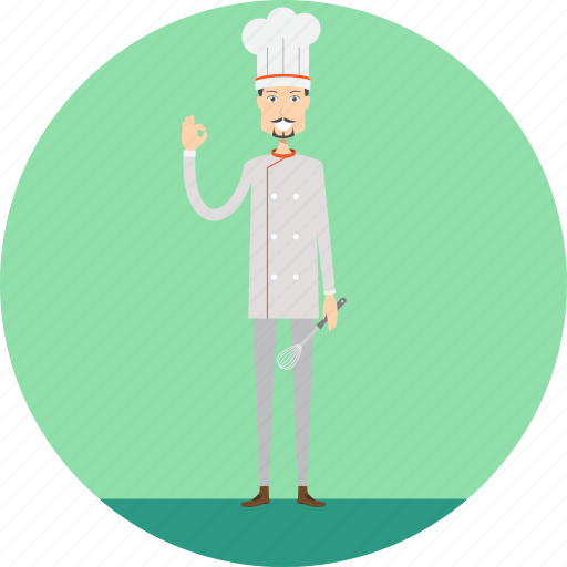 adult, chef, chef hat, cook, male, people, profession icon
