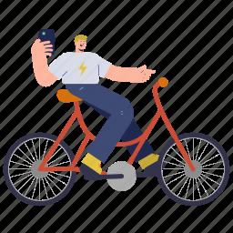character, builder, man, smartphone, phone, mobile, bike, travel