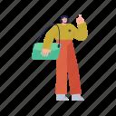 character, builder, woman, bag, handbag, purse