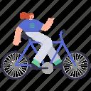 character, builder, woman, bike, travel, transportation