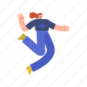 character, builder, woman, hopping, jump, happy