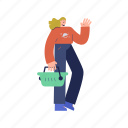 character, builder, woman, shopping, basket, ecommerce