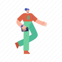 character, builder, woman, smartphone, phone, mobile