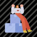 character, builder, woman, zen, box, package