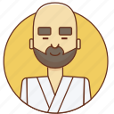 bald, character set, karate, man, peace, person, sport icon