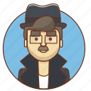 cartoon, character, character set, detective, man, person, policy icon