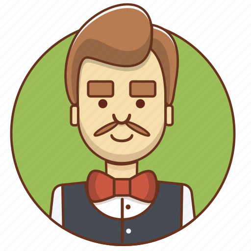cartoon character, character, character set, employeer, man, person, waiter icon