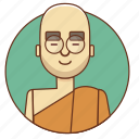 bald, buddha, cartoon, character, character set, man, peace icon