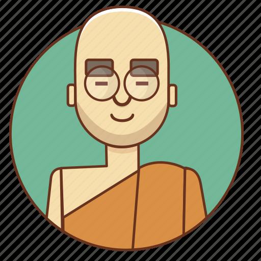 bald, buddha, cartoon, character, character set, man, peace icon