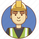 builder, cartoon character, character set, employeer, man, person icon