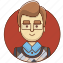 businessman, cartoon, character, character set, man, student, teacher icon