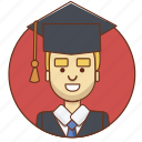 cartoon, character, character set, graduate, guy, man, person icon