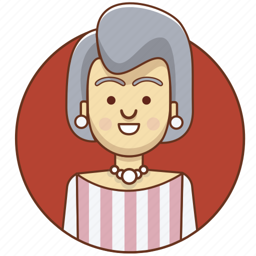 cartoon, character, character set, girl, old, person, woman icon