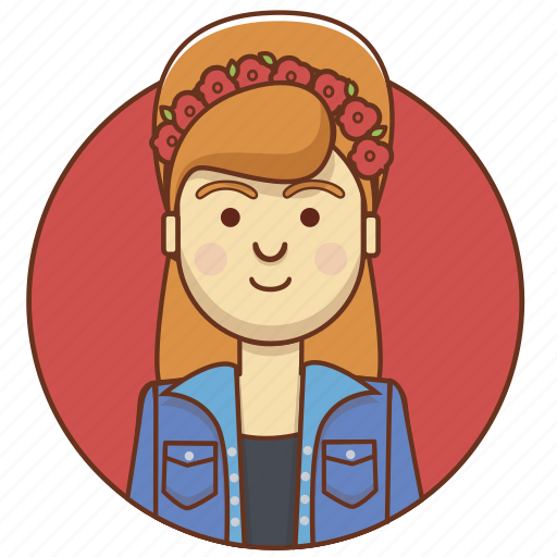 character, character set, flowers, girl, person, style, woman icon