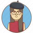 character, culture, french, girl, person, student, woman icon