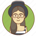 character, character set, fashion, girl, hat, person, woman icon