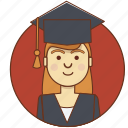 character, character set, girl, graduate, person, student, woman icon