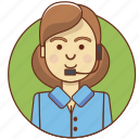 character, character set, customer service, employeer, girl, help, woman icon
