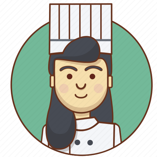 character, character set, chef, food, girl, profession, woman icon