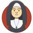 cartoon, character, church, girl, nun, sister, woman icon