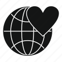 concept, earth, globe, heart, love, planet, world icon