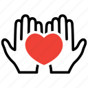 charity, hands, heart, support icon