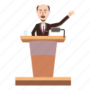 bald, cartoon, conference, podium, rostrum, speaker, suit icon